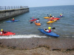 Canoeing in the sea off Herne Bay